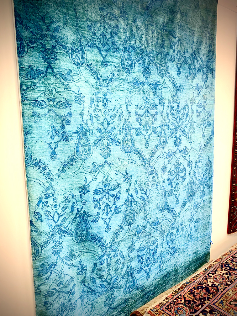 Aqua colored rug from Afghanistan
